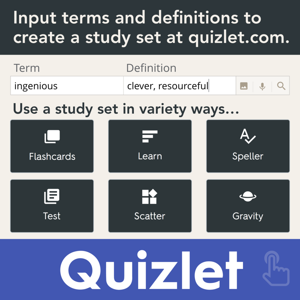 Quizlet: Inpiut Terms and definitions to create a study set of at quizlet.com. Use a study set in a variety of ways: Flashcards, Learn, Speller, Test, Scatter, Gravity
