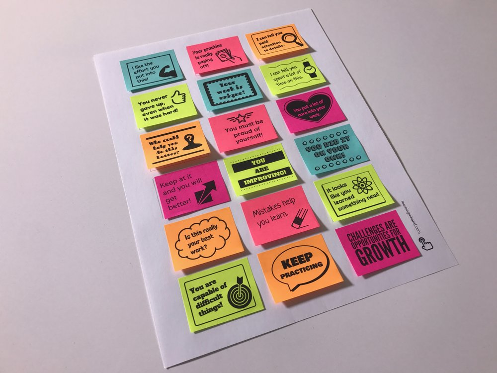 Encourage a Growth Mindset - Print encouraging sticky notes!