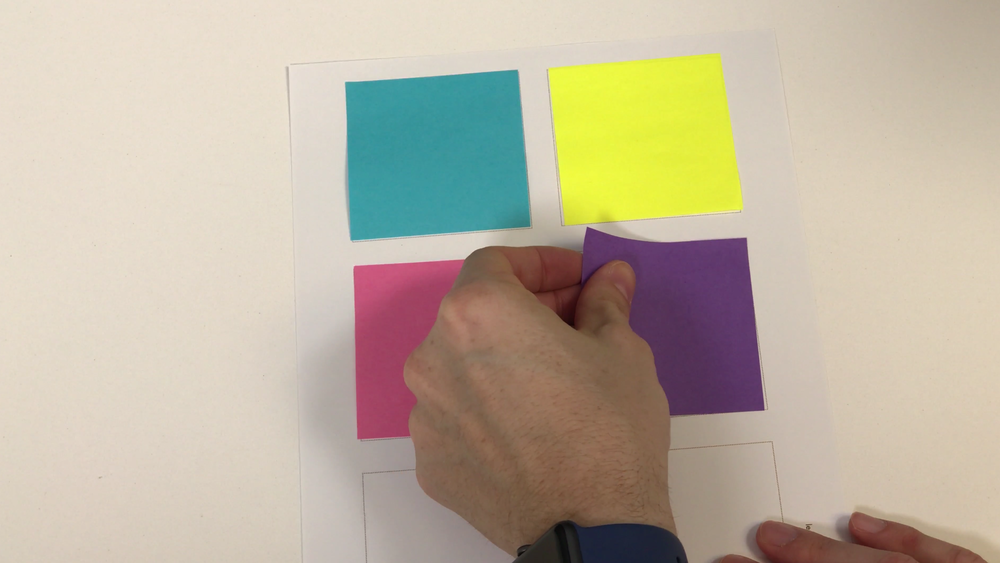 Affixing sticky notes to the guide paper
