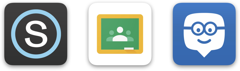 Edmodo0, GOogle CLassroom, and Schoology Logos