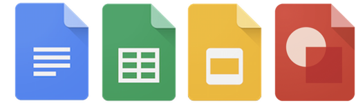 Google Documents, Google Sheets, Google Slides, Google Drawgings