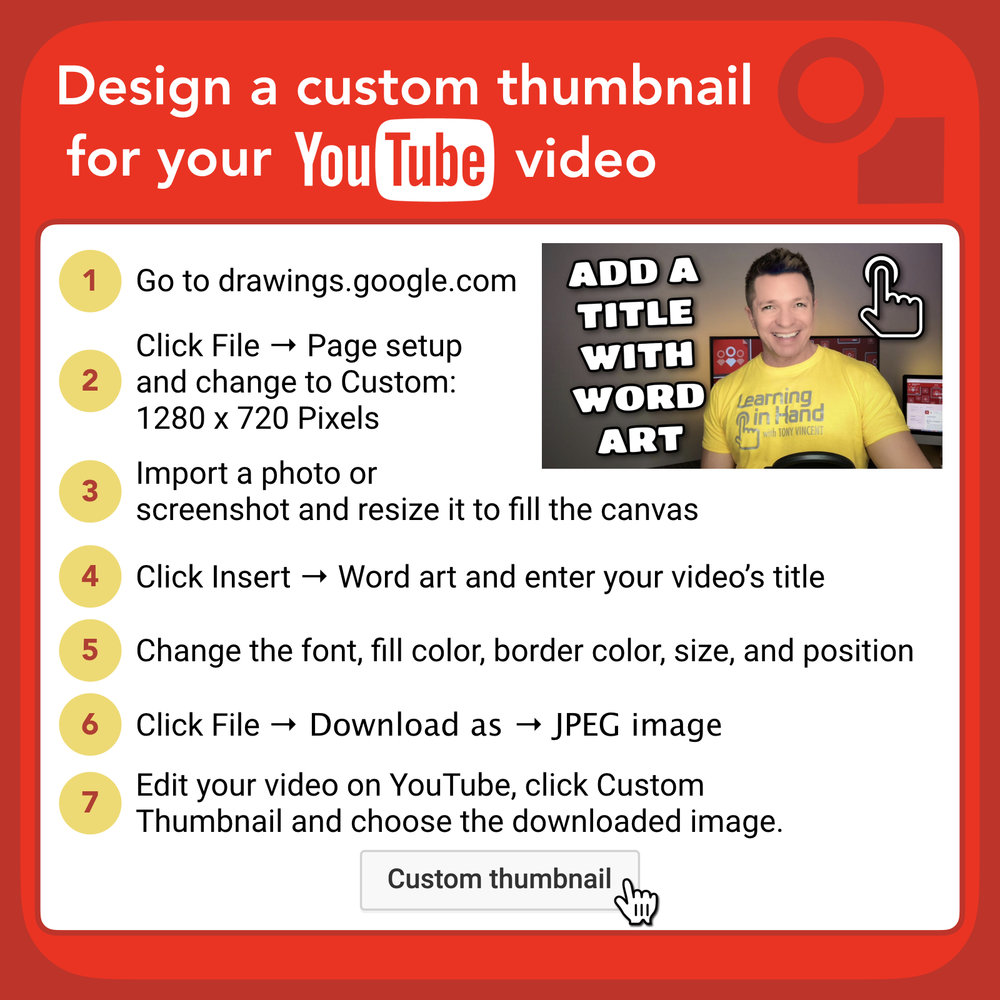 A YouTube video's thumbnail is like a book's cover: it tries to draw the reader to see what's inside. A video's thumbnail appears when embedded, on YouTube in a search, in a Related Videos listing, and in playlists. After uploading a video to YouTube, you see three thumbnail options that YouTube automatically pulls from your video. Chances are that none of those are the perfect thumbnail. The fourth option is to upload a custom thumbnail. You can upload just about any image to use as the thumbnail. I like to save a frame from my video (or take a screenshot) from one of the best moments. Then I bring that image into  Google Drawings  so that I can add word art and any other embellishments. I then download as a JPEG so that I can upload it as a custom thumbnail to YouTube.  Word art is great for thumbnails because you can give the text a fill color and a contrasting border color. That kind of combination will show up no matter what is behind it. I also like to add a drop shadow to make the text show up even better.  Canva has alternative to using Google Drawings to create a thumbnail. They have a tool for making eye-catching YouTube thumbnails at  canva.com/create/youtube-thumbnails.   Adobe Spark also has a YouTube thumbnail maker at  spark.adobe.com/make/youtube-thumbnail-maker.