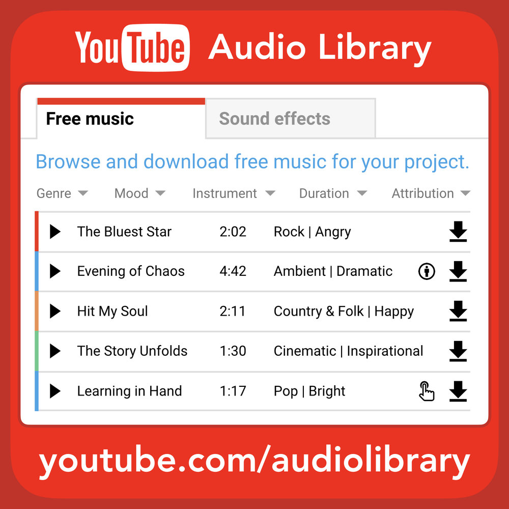 You can use the  YouTube Audio Library  to get hundreds of free songs and sound effects to use in your videos. Most of the music in the library requires no attribution, but some songs do require you to include credit in your video's description.