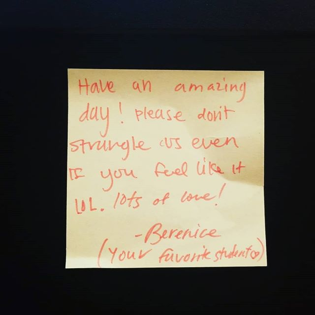 Found this note on my computer today 😍 #terrifictuesday (I asked my students what hashtag I should use heheh...) Have an amazing day friends!! . . . #firstyearteacher #iteachtoo #iteachhighschool #iteachmath #mathteachertribe #mathteacher #teachersfollowteachers #teachersofinstagram #feelgood #teacherappreciation