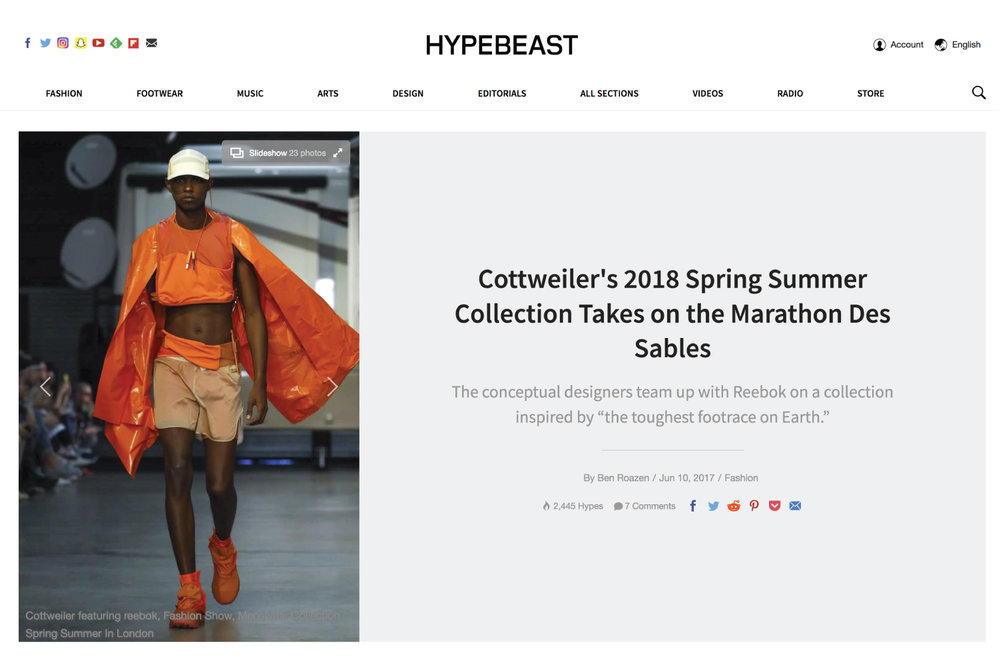 HYPEBEAST | Cottweiler's 2018 Spring Summer Collection Takes on the Marathon Des Sables, by Ben Roazen, June 10, 2017
