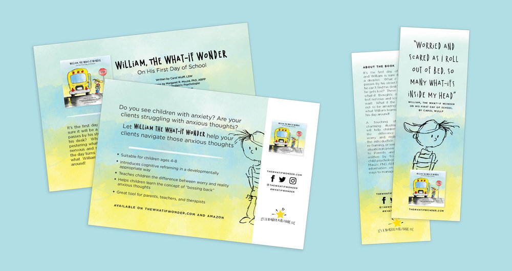 Promotional postcard and bookmarks