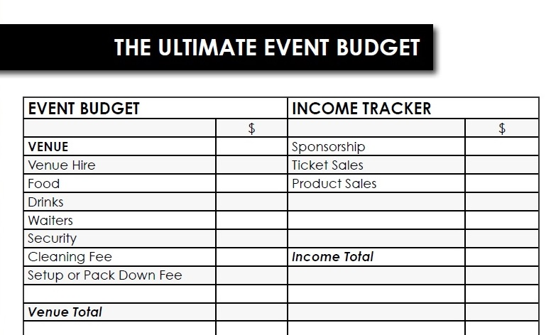 Just a tiny part of the full Ultimate Event Toolkit budget