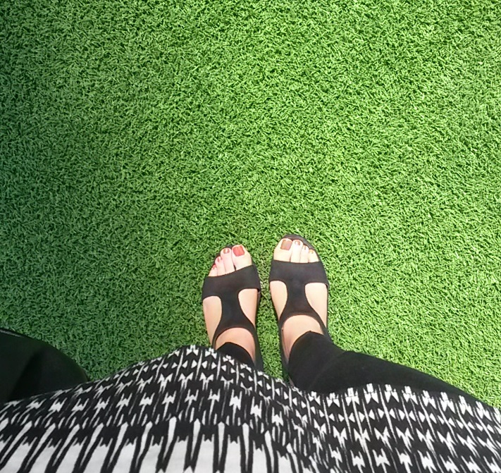 My feet on the MCG grass - I haven't been on those grounds since I was a kid after a Geelong game!