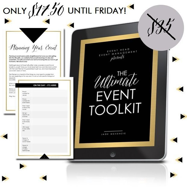 I'm having a flash sale! For the next three days you can get your hands on a copy of my Ultimate Event Toolkit for only $17.50 instead of $35! It is 58 pages of event planning goodness that is bursting to the brim with a full event planner // a sales and ticketing page template // a social media schedule and prompts // a budget template // a comprehensive venue checklist // a run sheet template // an event wrap up & debrief // and some bonus tips! This instant download is a fully editable PDF with links to word and excel versions of the budget, run sheet and social media schedule. Use this again and again for any event!  My clients LOVE this and I know you will too. Get your copy at http://www.eventhead.com.au/event-toolkit/ 📧💕