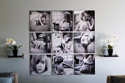 photograph wall display in a home