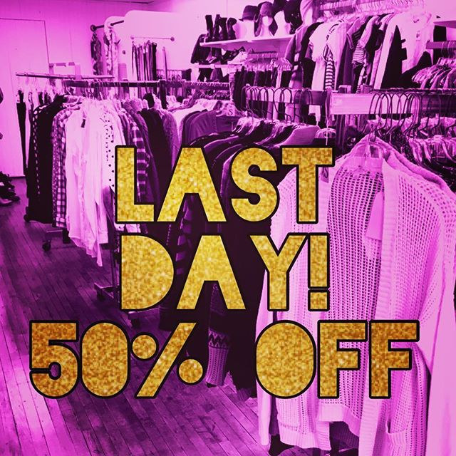 Today's the last day to get 50% off all the best bits in our closing sale. Tomorrow, we change out the stock and sell what's left for $5 or less! The shop's open until 6 tonight. . . . #sale #clearance #closingsale #poppingtags #vintagefashion #thrift #consignment #downtownkitchener #uptownwaterloo #dtklove #kwawesome #shoplocal #supportlocal