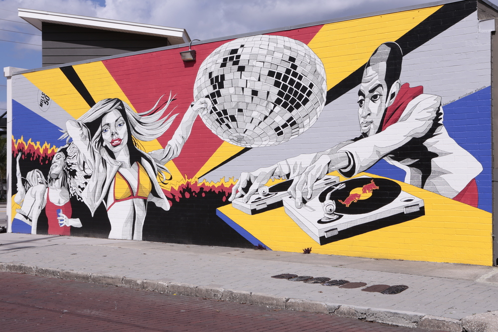 M-SQUARED X RED BULL MURAL PAINTING BY ANDREW SPEAR. #WINGSTOWALLS LOCATED IN THE MILLS 50 DISTRICT IN ORLANDO, FL.