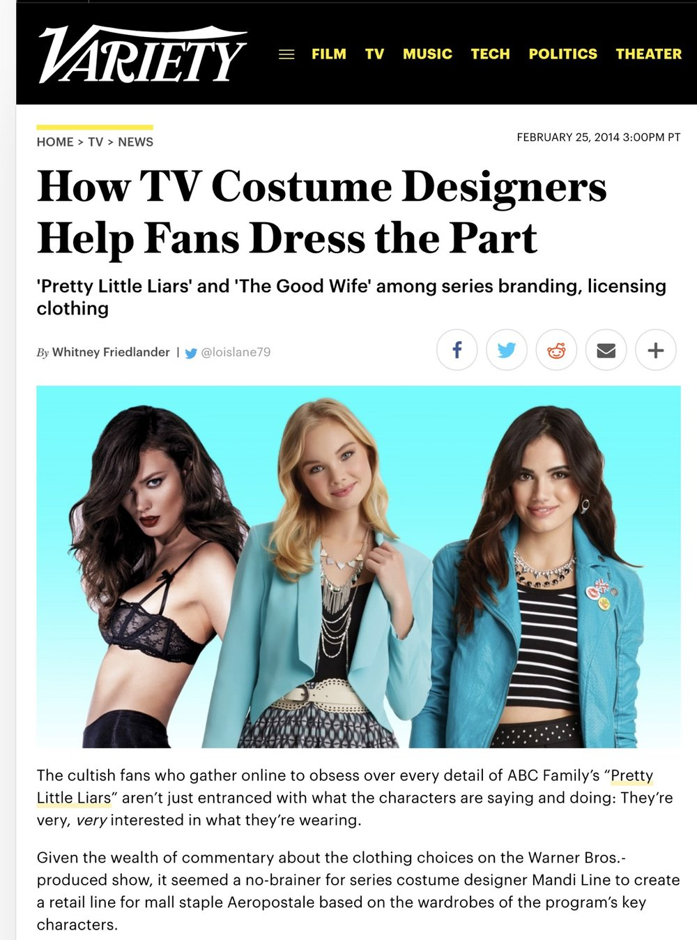 Variety  -  How TV Costume Designers Help Fans Dress the Part