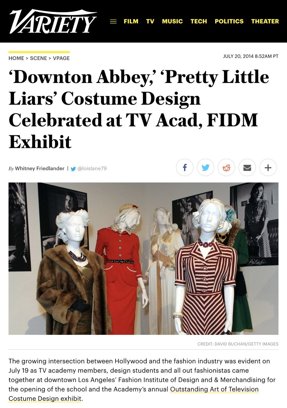 Variety  -  'Downton Abbey,' 'Pretty Little Liars' Costume Design Celebrated at TV Acad, FIDM Exhibit