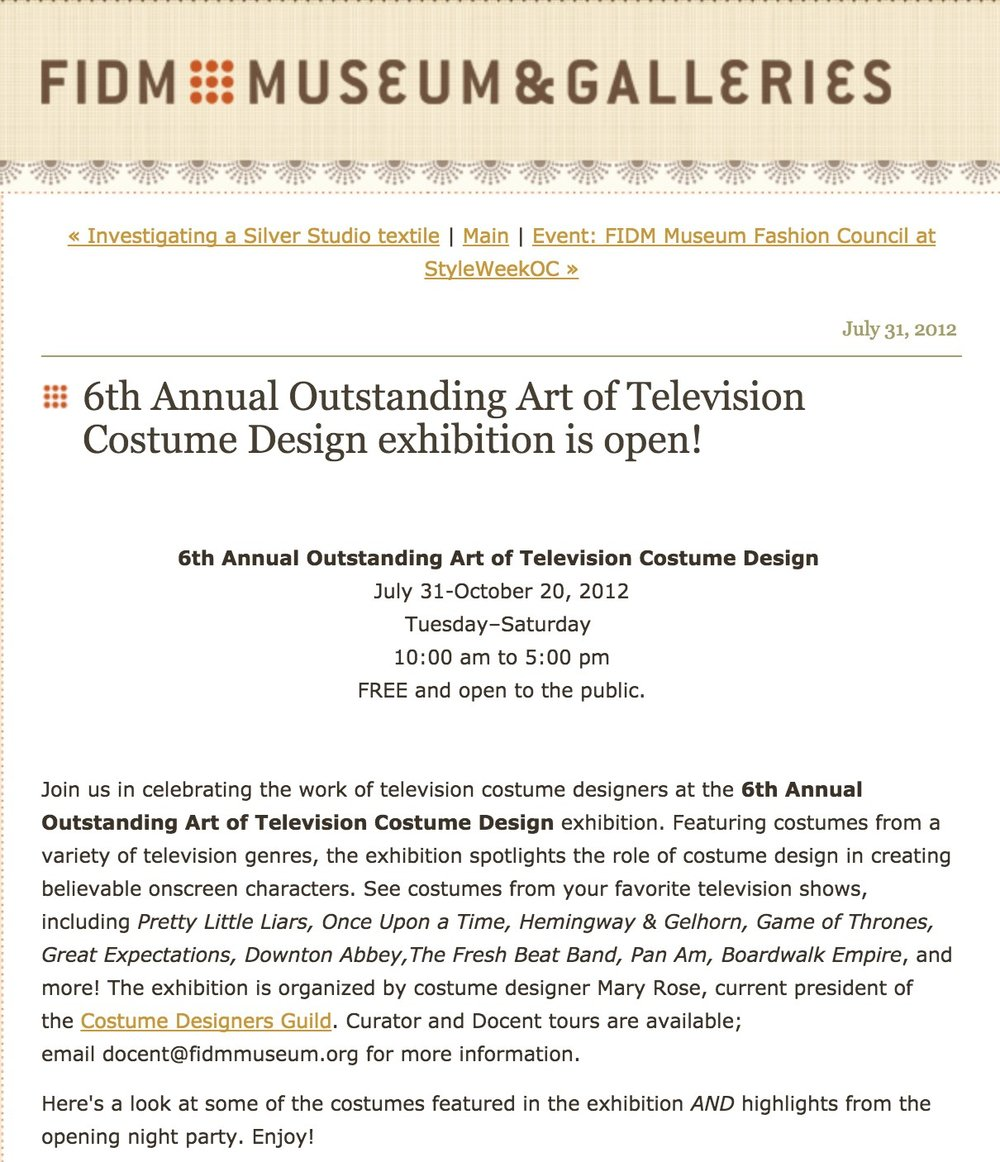 FIDM Museum  -  6th Annual Outstanding Art of Television Costume Design exhibition is open!