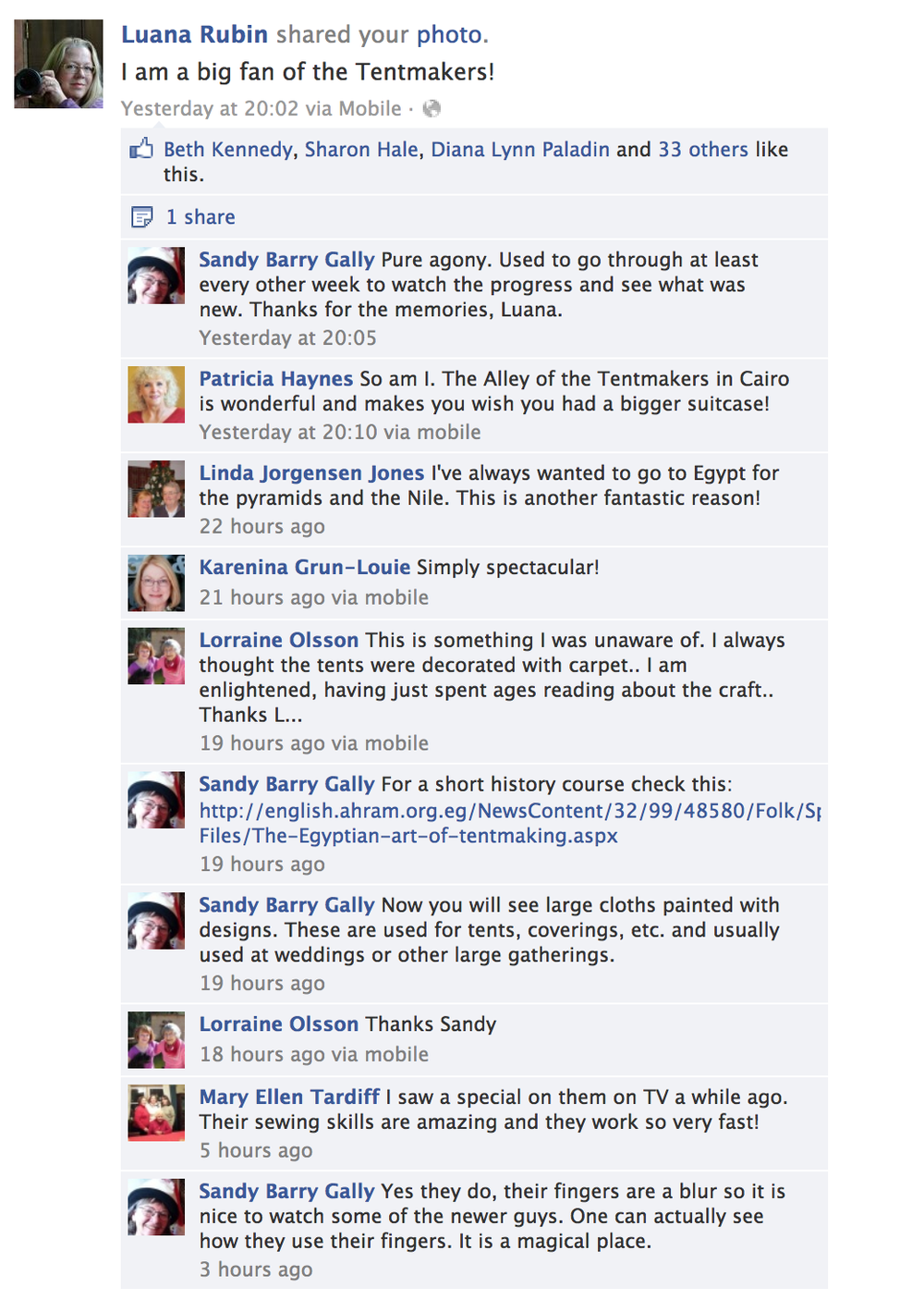 Reactions to Luana Rubin sharing a photo from the Facebook Page The Tentmakers of Chareh El Khiamiah - 18 January 2013
