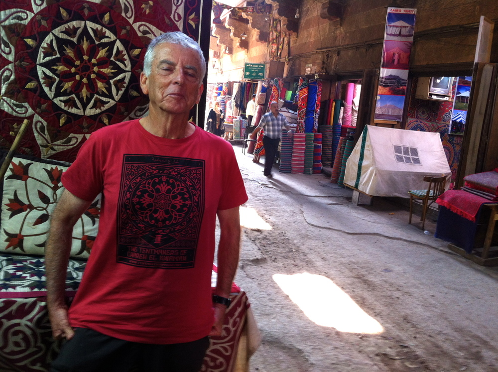 John in his new 'Tentmakers of Chareh El Khiamiah' T-Shirt.