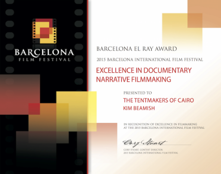 El Rey Award for Excellence in Documentary Narrative Filmmaking: The Tentmakers of Cairo directed by Kim Beamish
