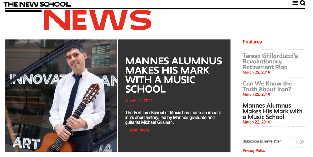 MANNES ALUMNUS MAKES HIS MAKE WITH A MUSIC SCHOOL