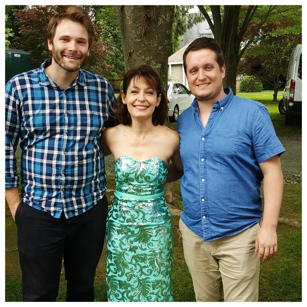 JMS Artist Mgmt colleagues Justin Stanley and Justin Croushore with violinist Irina Muresanu, Newport Music Festival, 2017