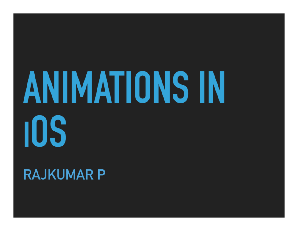 Animations - iOS talk