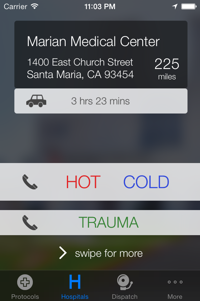 Immediate access to the closest hospital with one-touch dialing, distance and turn-by-turn routing