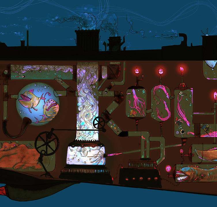 This is a detail of the final illustration.  As you can see, there are giant squid swimming inside the belly, angler fish singing into the pipes, and eels powering the generator.  Also inside the pipes is Brian exploring through the maze.