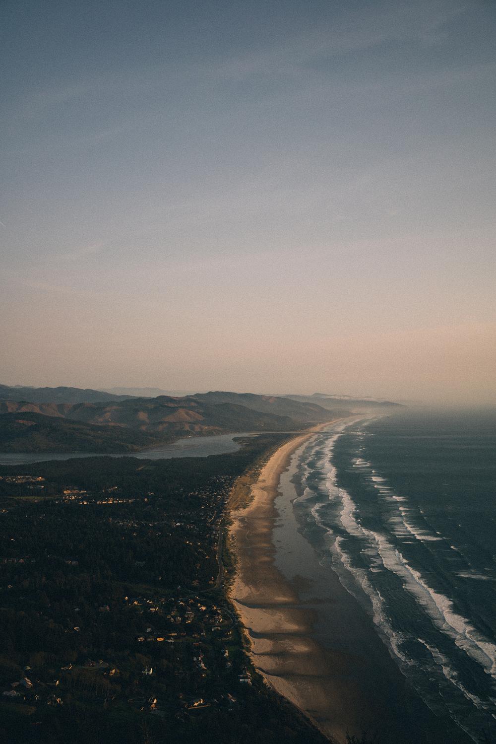 Looking down at the Oregon Coastline.