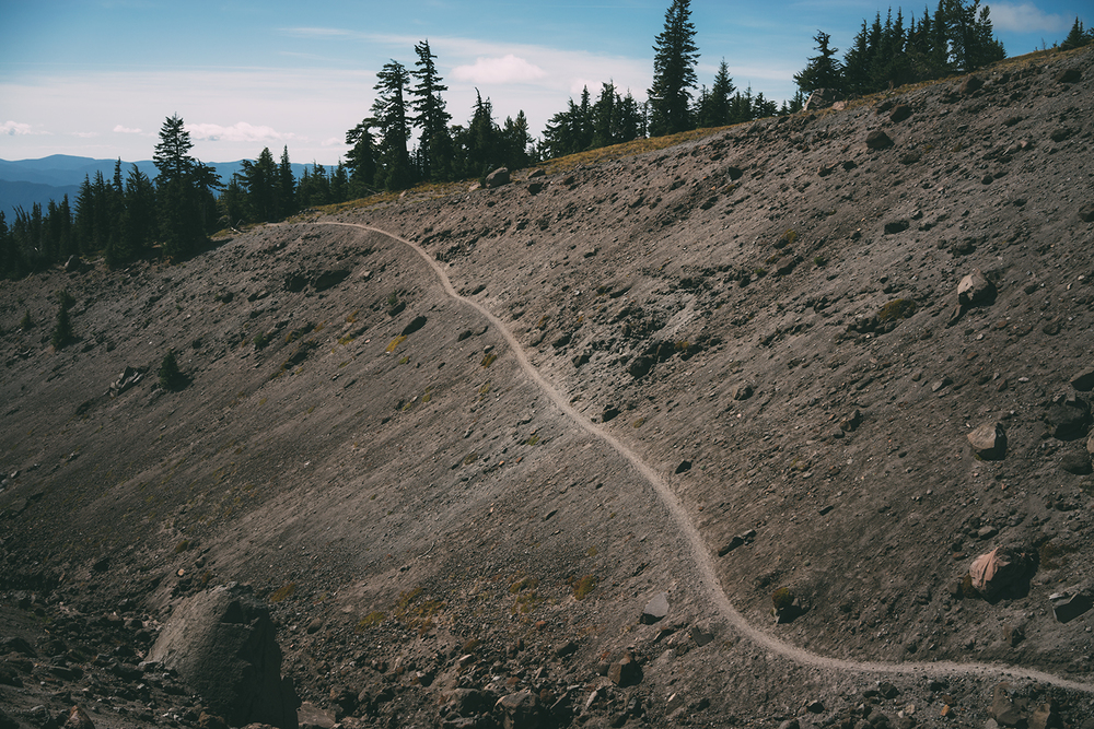 A tiny path etched out along the slope of the mountain.
