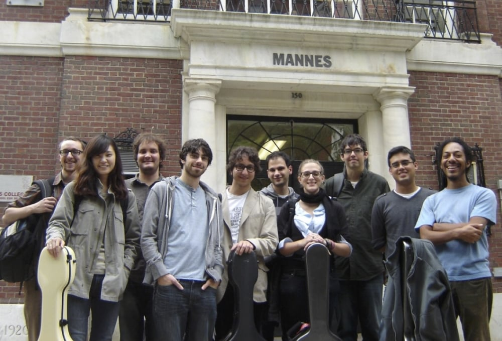 Mannes guitar students outside the old 85th street campus