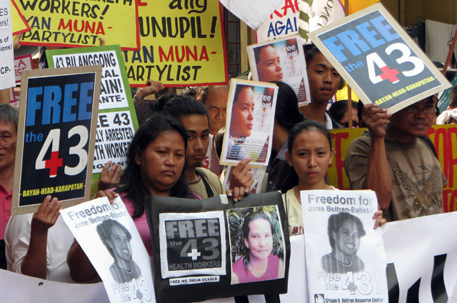Protestors in the Philippines show their support for the Morong 43