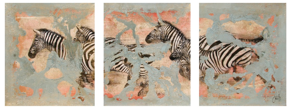Herd Galloping, Splashing Triptych Original Mixed Media on Canvas