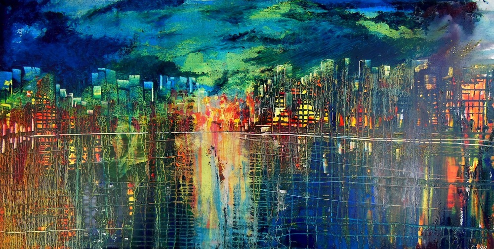 """Original oil painting """"Shanghai"""" by new artist Peter Hill"""