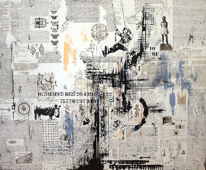 "Sebastien Levigne ""Encyclopaedia 4"" Original MIxed Media on Canvas"