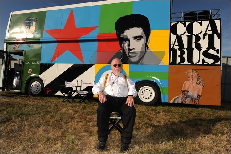Sir Peter Blake with the Art Bus