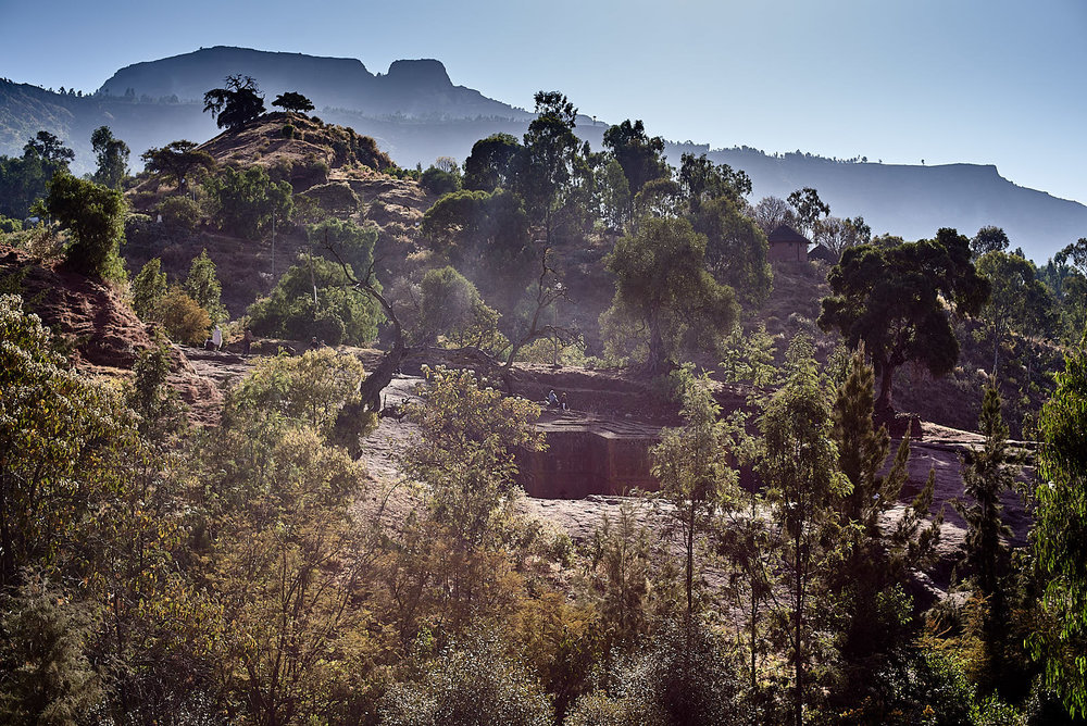 Tucked into the landscape, the Church of Saint George, Lalibela, Ethiopia.