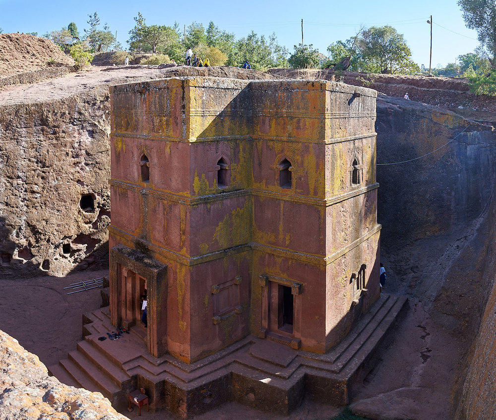 The Church of Saint George, carved out of the volcanic sediment, Lalibela, Ethiopia.