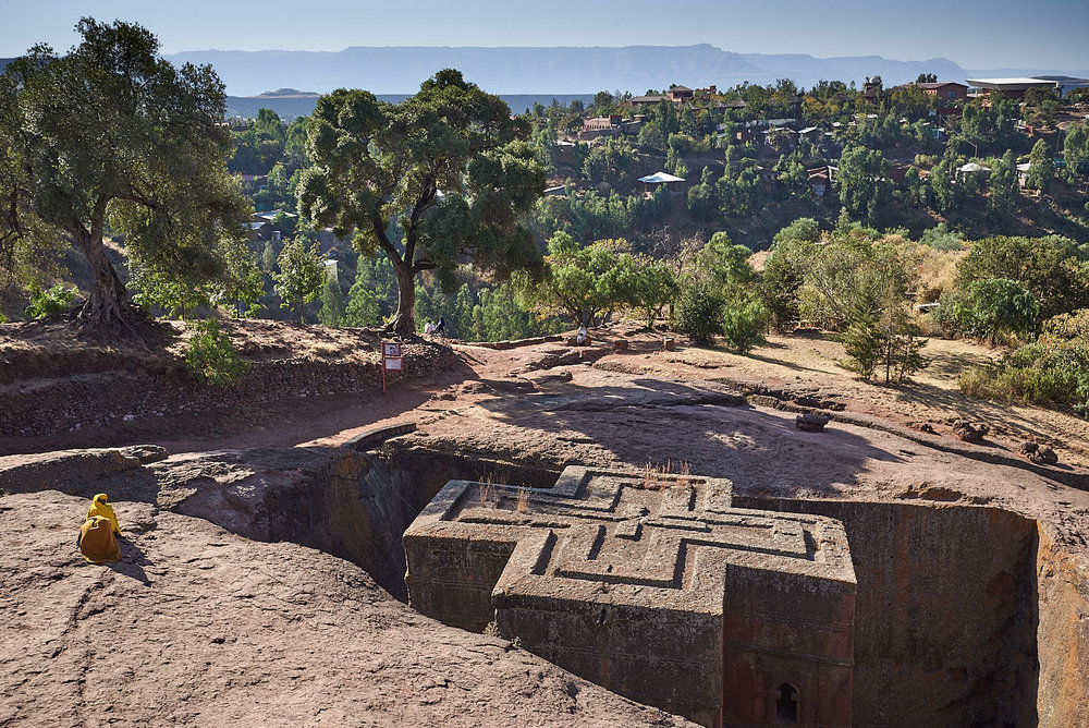 Carved out of volcanic sediment, the Church of Saint George's crossed roof, Lalibela, Ethiopia.