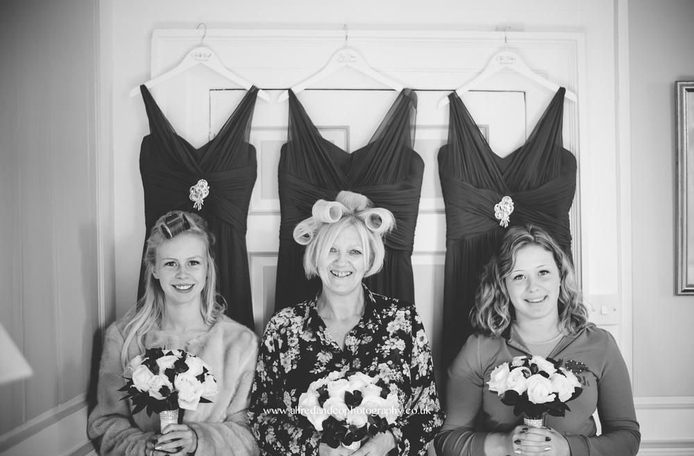 bridesmaids at tissington hall wedding