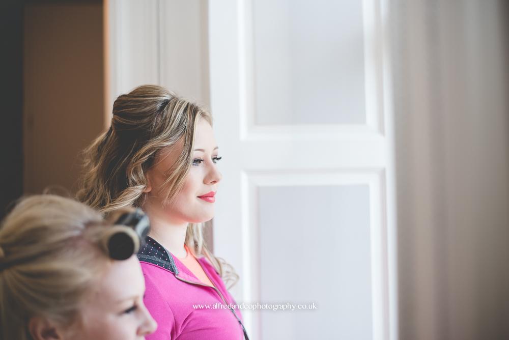 bridesmaid before wedding at tissington hall