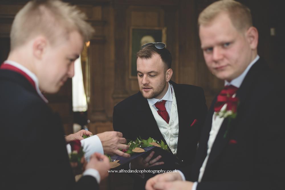 groom at wedding at tissington hall