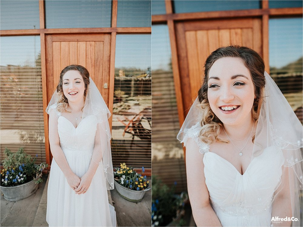 Beautiful bride before spring wedding
