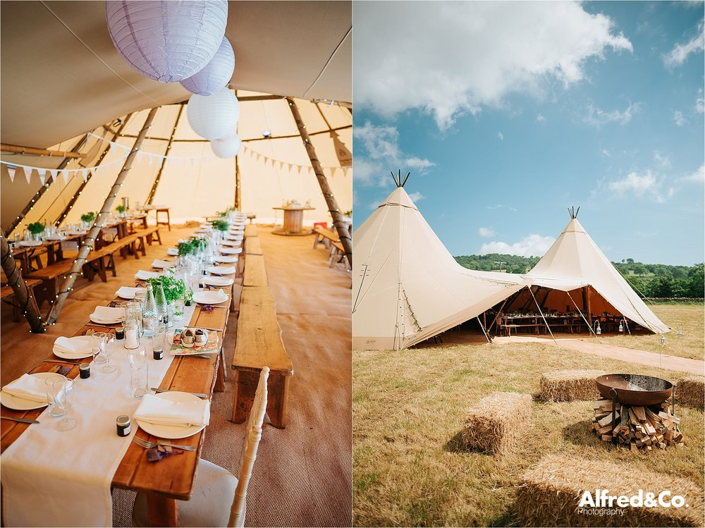 inside of tipi wedding