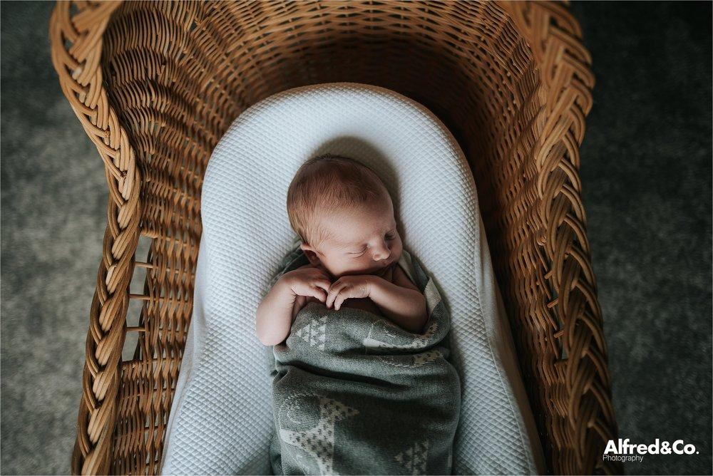 baby boy in wicker moses basket