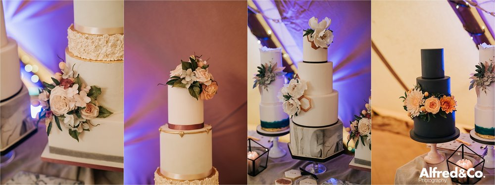 Wedding Cakes in tipi in cheshire