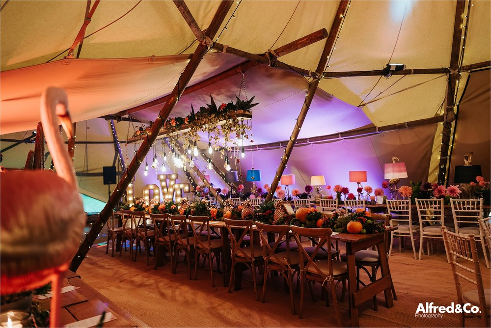 Inside wedding Tipi at Dorfold Hall