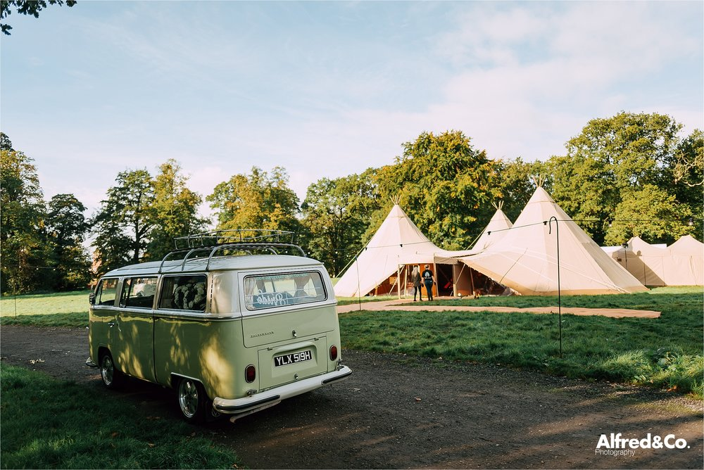 vw campervan and tipi