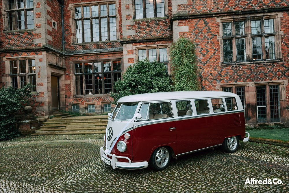 vw camper outside dorfold hall in cheshire