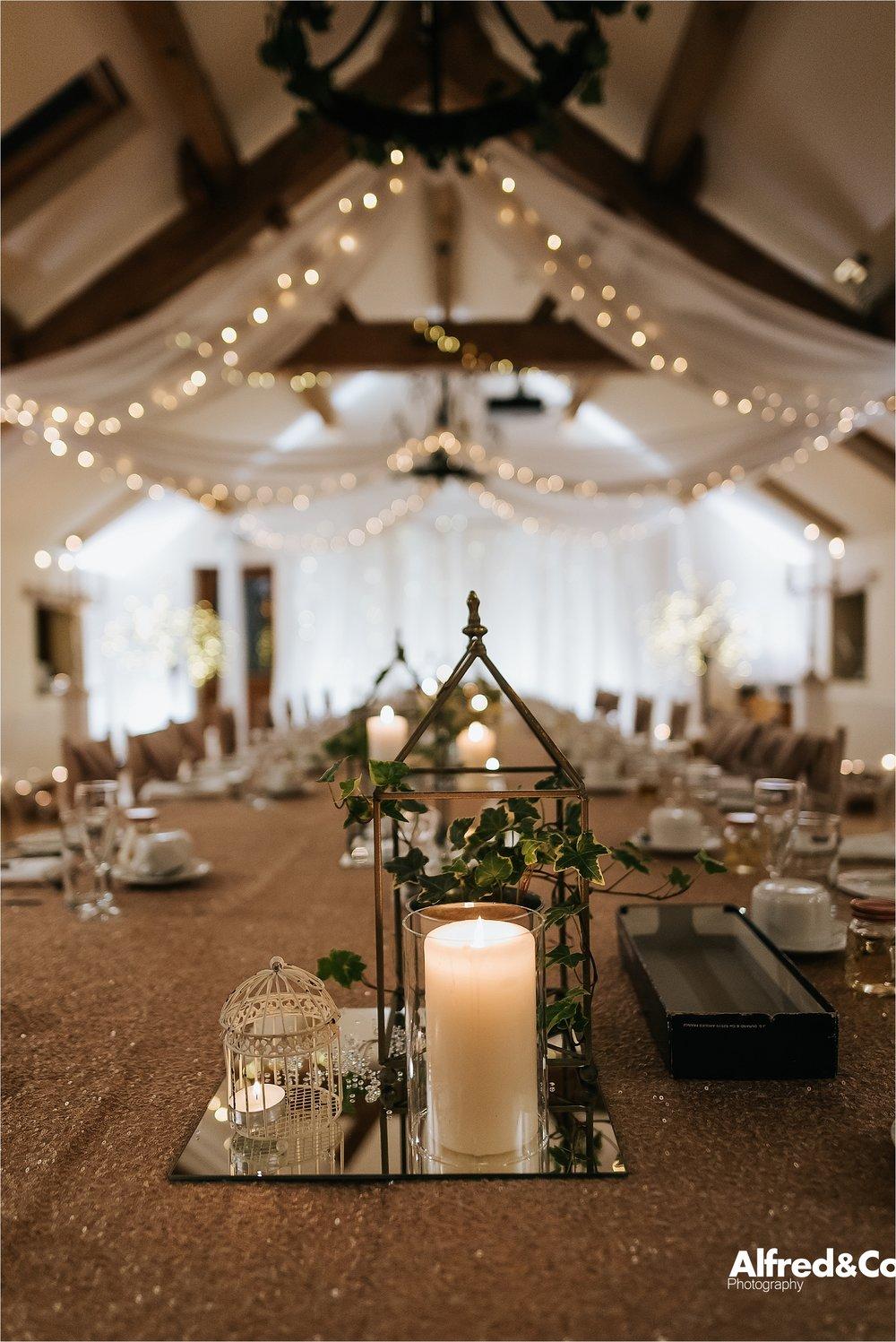 candlelit wedding table beeston manor