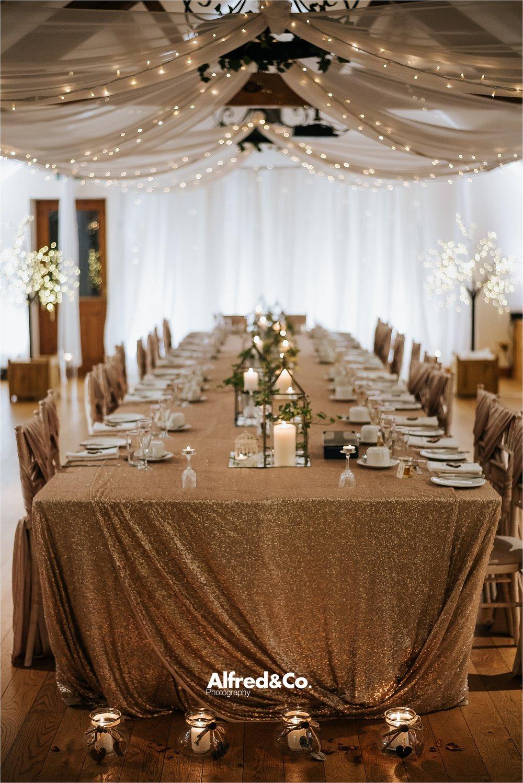 wedding reception table at beeston manor